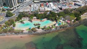 Aerial drone view of Settlement Cove Lagoon, Redcliffe, Australia. Aerial drone view of Settlement Cove Lagoon, Redcliffe, Brisbane, Australia stock video