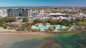 Aerial drone view of Settlement Cove Lagoon, Redcliffe, Australia. Aerial drone view of Settlement Cove Lagoon, Redcliffe, Brisbane, Australia stock footage