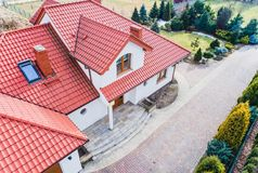Aerial drone view on single family house royalty free stock images