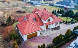 Aerial drone view on single family house royalty free stock photo