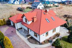 Aerial drone view on single family house. In Poland stock image