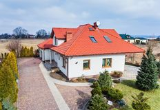 Aerial drone view on single family house royalty free stock image