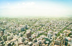 Aerial drone view of skyscrapers of Santiago de Chile stock photos