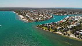 Aerial drone view of Bribie Island, Queensland, Australia. Aerial drone view of south part of Bribie Island, Queensland, Australia stock video footage