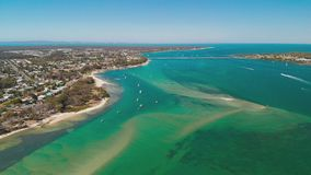 Aerial drone view of Bribie Island, Queensland, Australia. Aerial drone view of south part of Bribie Island, Queensland, Australia stock video