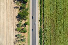 Aerial view of a highway passing through fields Royalty Free Stock Photo
