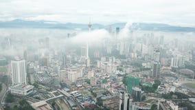 Aerial drone view of sunrise at Kuala Lumpur