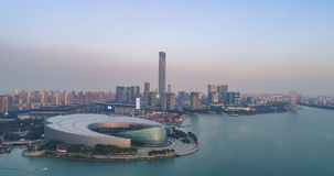 14 august, 2018. Suzhou city, China. Aerial drone view of Suzhou Culture and Arts Centre stock photography