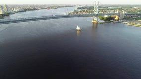 Aerial Drone View of Tall Ship Delaware River Philadelphia PA stock video