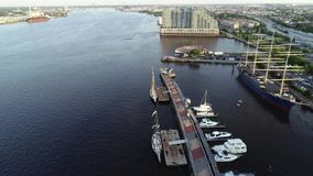 Aerial Drone View of Tall Ships Docked in Philadelphia PA stock footage