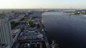 Aerial Drone View of Tall Ships Docked in Philadelphia PA stock video footage