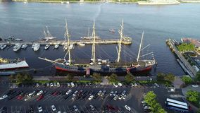 Aerial Drone View of Tall Ships Docked in Philadelphia PA stock video