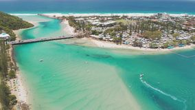 Aerial drone view of Tallebudgera Creek and beach on the Gold Coast, Queensland, Australia. Aerial drone view of Tallebudgera Creek with famous beach on the Gold stock video footage