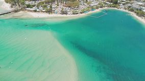Aerial drone view of Tallebudgera Creek and beach on the Gold Coast, Queensland, Australia. Aerial drone view of Tallebudgera Creek with famous beach on the Gold stock video