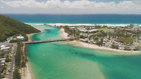 Aerial drone view of Tallebudgera Creek and beach on the Gold Coast, Queensland, Australia. Aerial drone view of Tallebudgera Creek with famous beach on the Gold stock footage