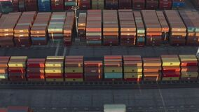 Aerial, drone view of thousands of containers in the Long Beach port holding area
