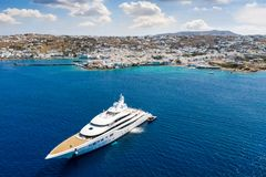 Aerial drone view to the town and port of Mykonos island stock image