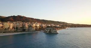 Aerial, drone view of the town Tropea stock footage