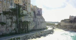 Aerial, drone view of the town Tropea stock video