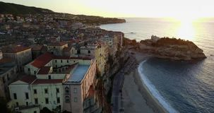 Aerial, drone view of the town Tropea stock video footage