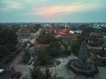 Aerial drone view of a traditionnal cambodian temple royalty free stock photography