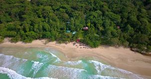 Aerial drone view of a Tropical caribbean beach in Bocas del Toro, Panama stock video