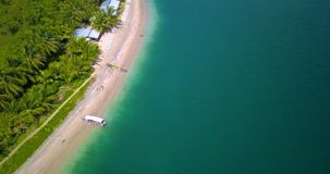 Aerial drone view of a Tropical caribbean beach in Bocas del Toro, Panama. Flying over a tropical caribbean beach in Bocas del Toro, Panama stock video footage