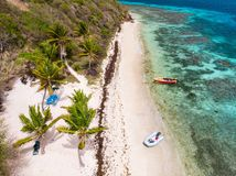 Top view of Tobago cays. Aerial drone view of tropical islands and turquoise Caribbean sea of Tobago cays in St Vincent and Grenadines royalty free stock image