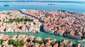 Aerial drone view of Venice city Grand Canal, island cityscape and Venetian lagoon from above, Italy stock image