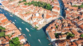 Aerial drone view of Venice city Grand Canal, island cityscape and Venetian lagoon from above, Italy royalty free stock image