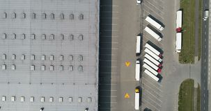 Aerial drone view on warehouse and logistic center stock footage