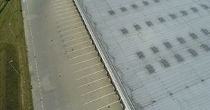 Aerial drone view on warehouse and logistic center stock video footage