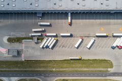 Aerial drone view on warehouse and logistic center stock photography