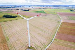 Aerial drone view on wind electricity generator Royalty Free Stock Photography