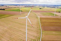 Aerial drone view on wind electricity generator Stock Images