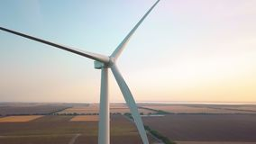 Aerial drone view on Wind Power, Turbine, Windmill, Energy Production - Green technology, a clean and renewable energy. Solution stock video footage
