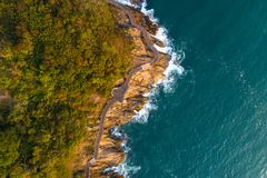 Aerial drone view of wooden boardwalk and sea waves Stock Images