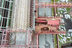Aerial drone view of Zollverein industrial complex in Essen, Germany. Aerial drone detail of Zollverein big old abandoned industrial complex in Essen, Germany royalty free stock photo