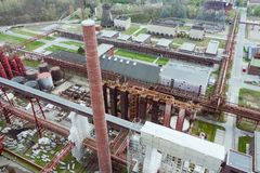 Aerial drone view of Zollverein industrial complex in Essen, Germany. Aerial drone view of Zollverein big old abandoned industrial complex in Essen, Germany royalty free stock image