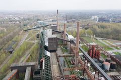 Aerial drone view of Zollverein industrial complex in Essen, Germany. Aerial drone view of Zollverein big old abandoned industrial complex in Essen, Germany stock photo