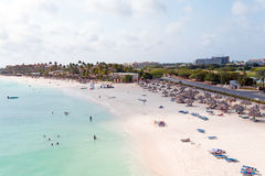 Aerial from Druif beach on Aruba island Royalty Free Stock Images