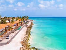 Aerial from Druif beach on Aruba island in the Caribbean Royalty Free Stock Photos
