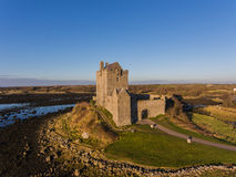 Aerial Dunguaire Castle Evening Sunset, near Kinvarra in County Galway, Ireland - Wild Atlantic Way Route. Famous irish castle. Royalty Free Stock Image