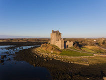 Aerial Dunguaire Castle Evening Sunset, near Kinvarra in County Galway, Ireland - Wild Atlantic Way Route. Famous irish castle. Stock Images