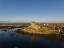 Aerial Dunguaire Castle Evening Sunset, near Kinvarra in County Galway, Ireland - Wild Atlantic Way Route. Famous irish castle. Royalty Free Stock Photos
