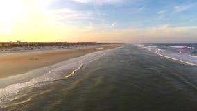 Aerial dusk beach video stock video