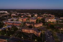 Aerial image FSU florida state university. Aerial dusk photo of Florida State University Tallahassee FL USA Royalty Free Stock Photo