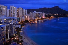 Aerial Dusk View of Waikiki Stock Images