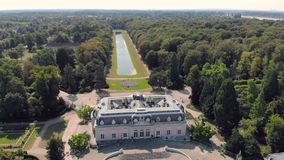Aerial Dusseldorf Germany Beneath Castle and Park.  stock footage