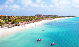 Aerial from Eagle beach on Aruba in the Caribbean Stock Images